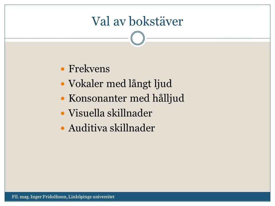 Val av bokstäver Fil. mag. Inger Fridolfsson, Linköpings universitet Frekvens Vokaler med långt ljud Konsonanter med hålljud Visuella skillnader Audit