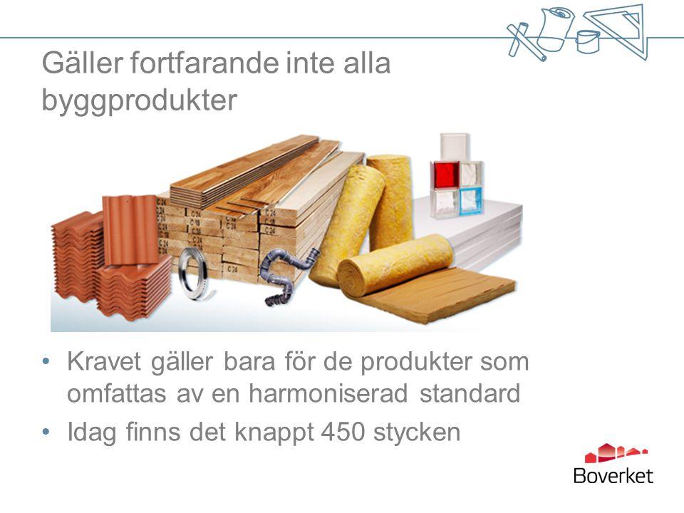 Gäller fortfarande inte alla byggprodukter Kravet gäller bara för de produkter som omfattas av en harmoniserad standard Idag finns det knappt 450 stycken
