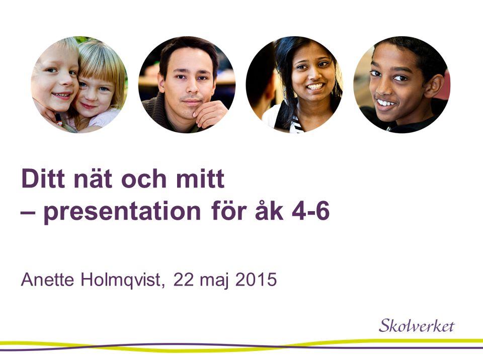 Ditt nät och mitt – presentation för åk 4-6 Anette Holmqvist, 22 maj 2015