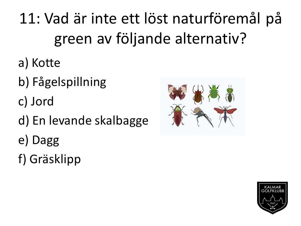 11: Vad är inte ett löst naturföremål på green av följande alternativ.