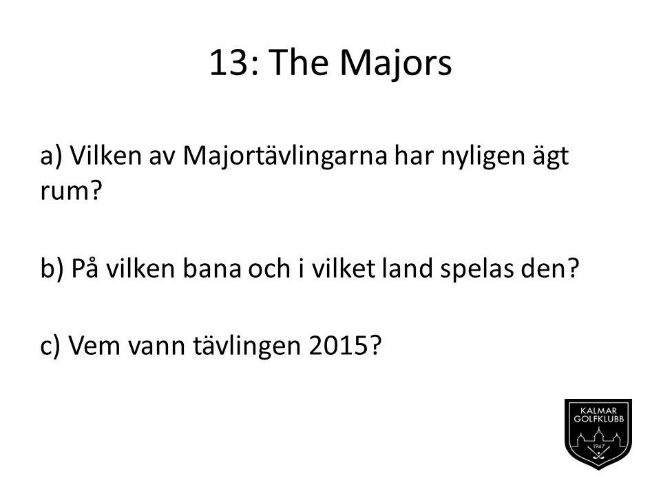 13: The Majors a) Vilken av Majortävlingarna har nyligen ägt rum.