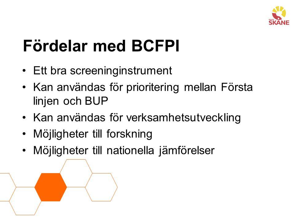 Fördelar med BCFPI Ett bra screeninginstrument Kan användas för prioritering mellan Första linjen och BUP Kan användas för verksamhetsutveckling Möjli