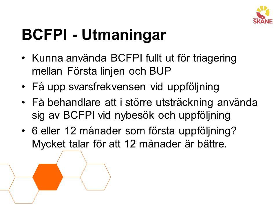 BCFPI - Utmaningar Kunna använda BCFPI fullt ut för triagering mellan Första linjen och BUP Få upp svarsfrekvensen vid uppföljning Få behandlare att i