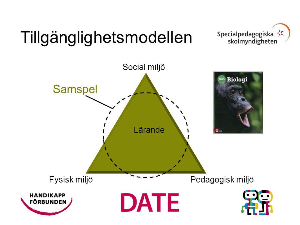 Fysisk miljö Pedagogisk miljö Social miljö Lärande Samspel Tillgänglighetsmodellen