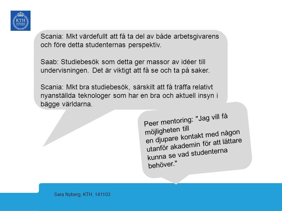 Sara Nyberg, KTH, 141103 Peer mentoring: