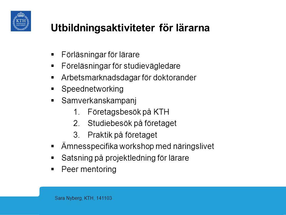 Sara Nyberg, KTH, 141103 Utbildningsaktiviteter för lärarna  Förläsningar för lärare  Föreläsningar för studievägledare  Arbetsmarknadsdagar för do