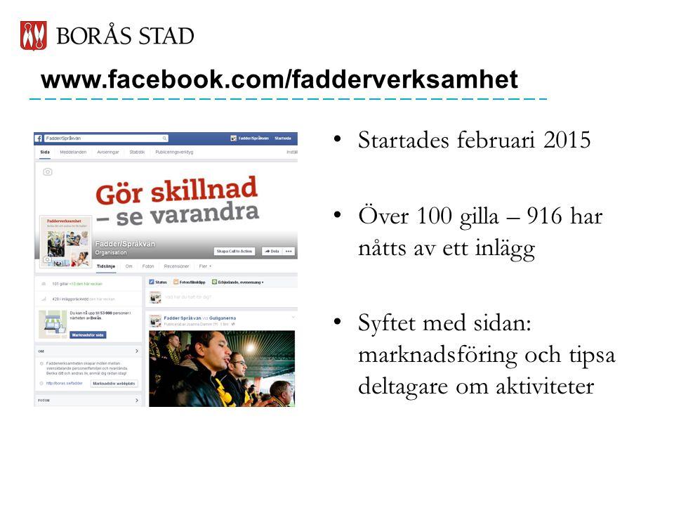 www.facebook.com/fadderverksamhet Startades februari 2015 Över 100 gilla – 916 har nåtts av ett inlägg Syftet med sidan: marknadsföring och tipsa deltagare om aktiviteter