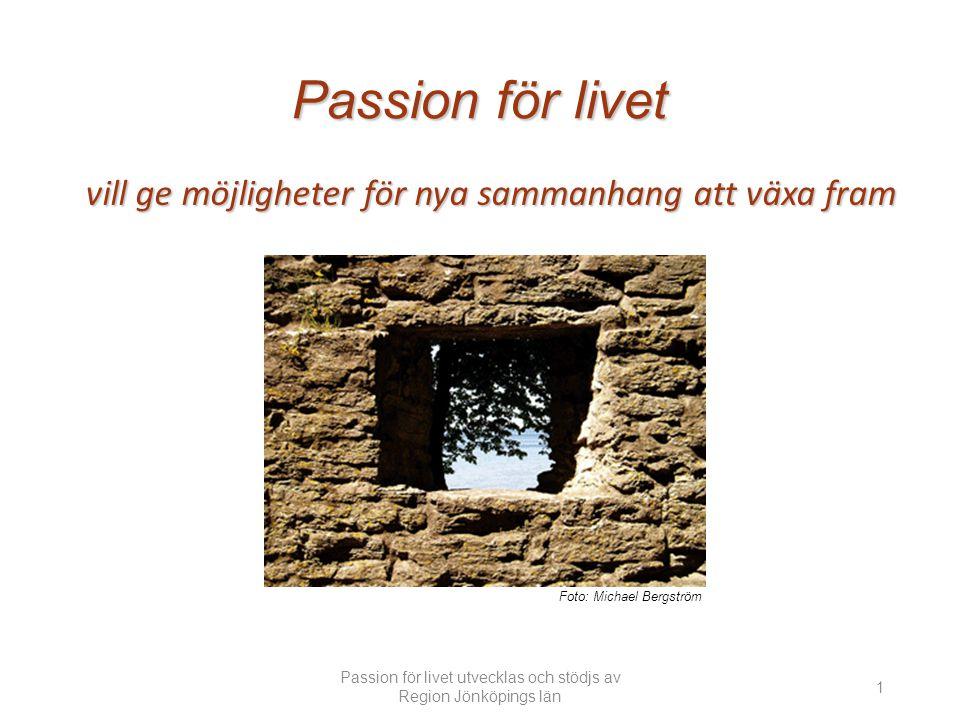 Passion för livet vill ge möjligheter för nya sammanhang att växa fram Foto: Michael Bergström Passion för livet utvecklas och stödjs av Region Jönköpings län 1