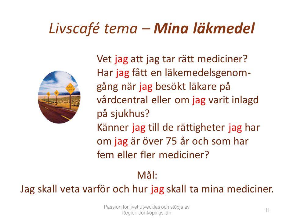 Livscafé tema – Mina läkmedel Vet jag att jag tar rätt mediciner.