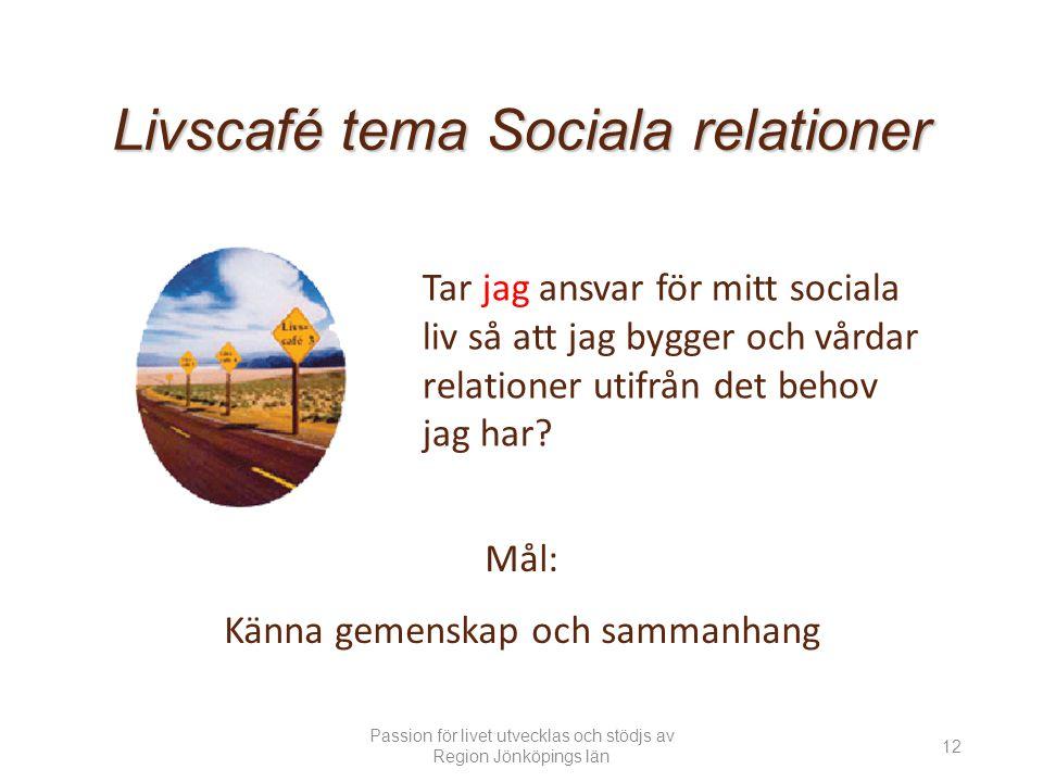Tar jag ansvar för mitt sociala liv så att jag bygger och vårdar relationer utifrån det behov jag har.