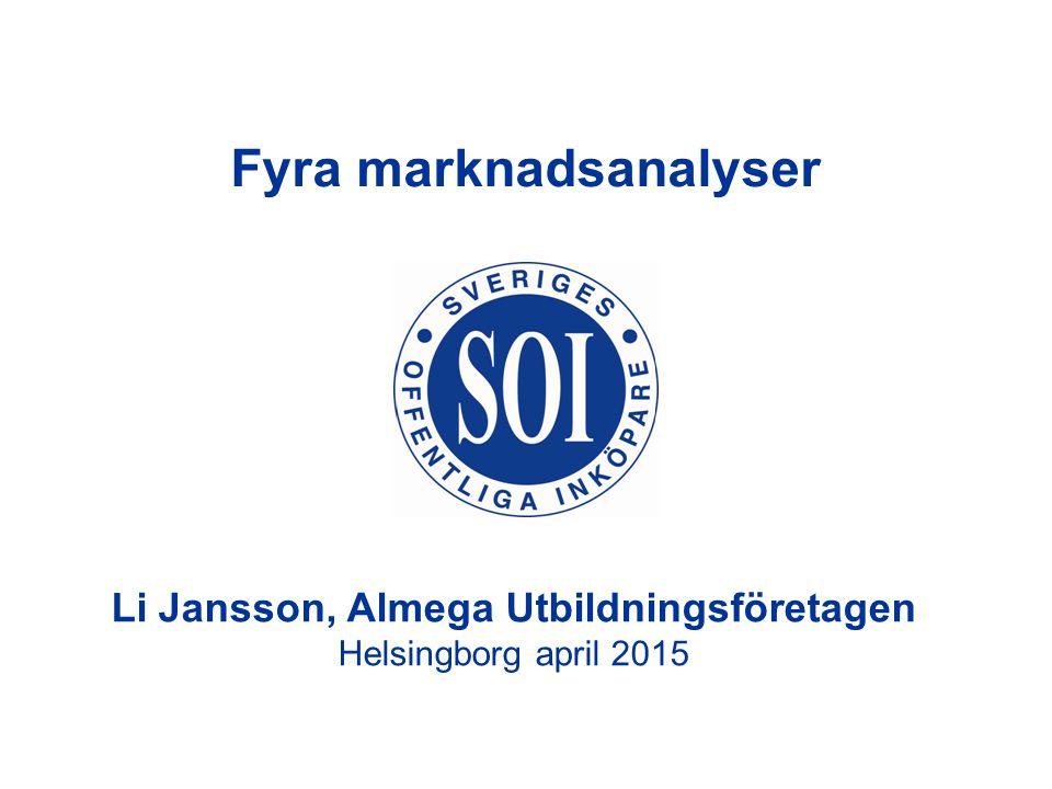Li Jansson, Almega Utbildningsföretagen Helsingborg april 2015 Fyra marknadsanalyser