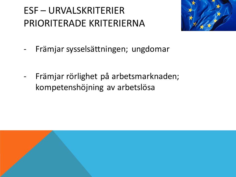 ESF – URVALSKRITERIER PRIORITERADE KRITERIERNA -Främjar sysselsättningen; ungdomar -Främjar rörlighet på arbetsmarknaden; kompetenshöjning av arbetslösa