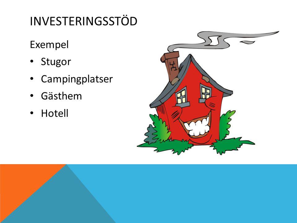 Exempel Stugor Campingplatser Gästhem Hotell INVESTERINGSSTÖD