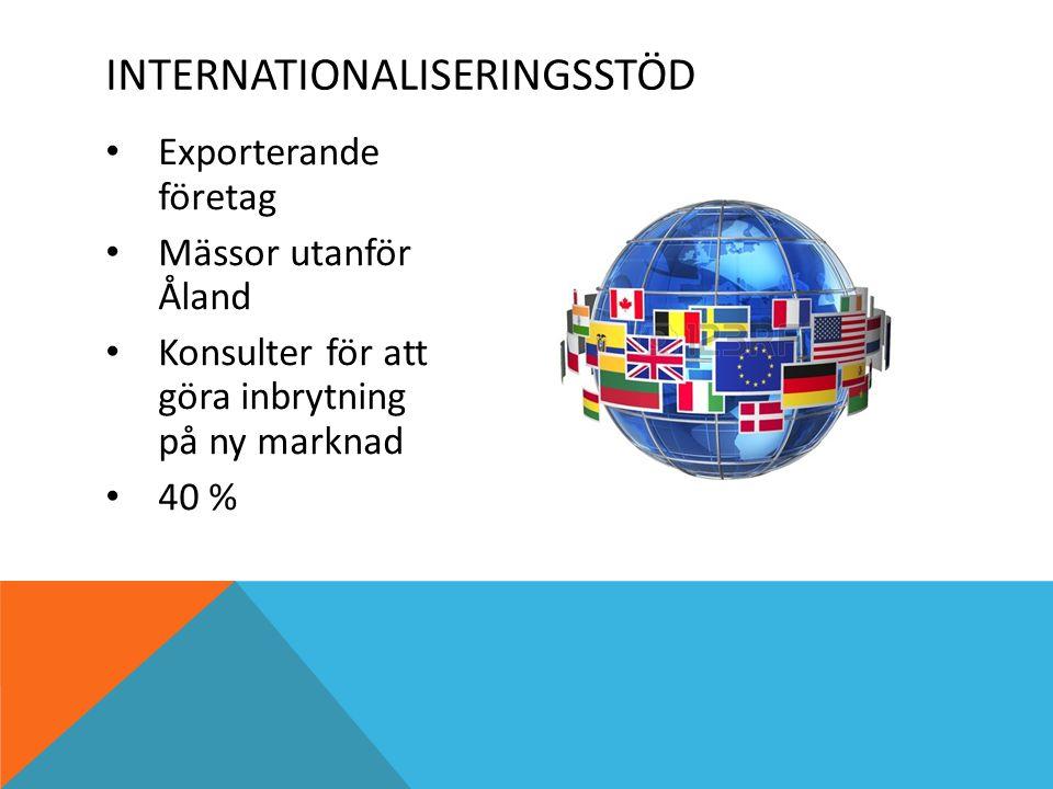 Exporterande företag Mässor utanför Åland Konsulter för att göra inbrytning på ny marknad 40 % INTERNATIONALISERINGSSTÖD