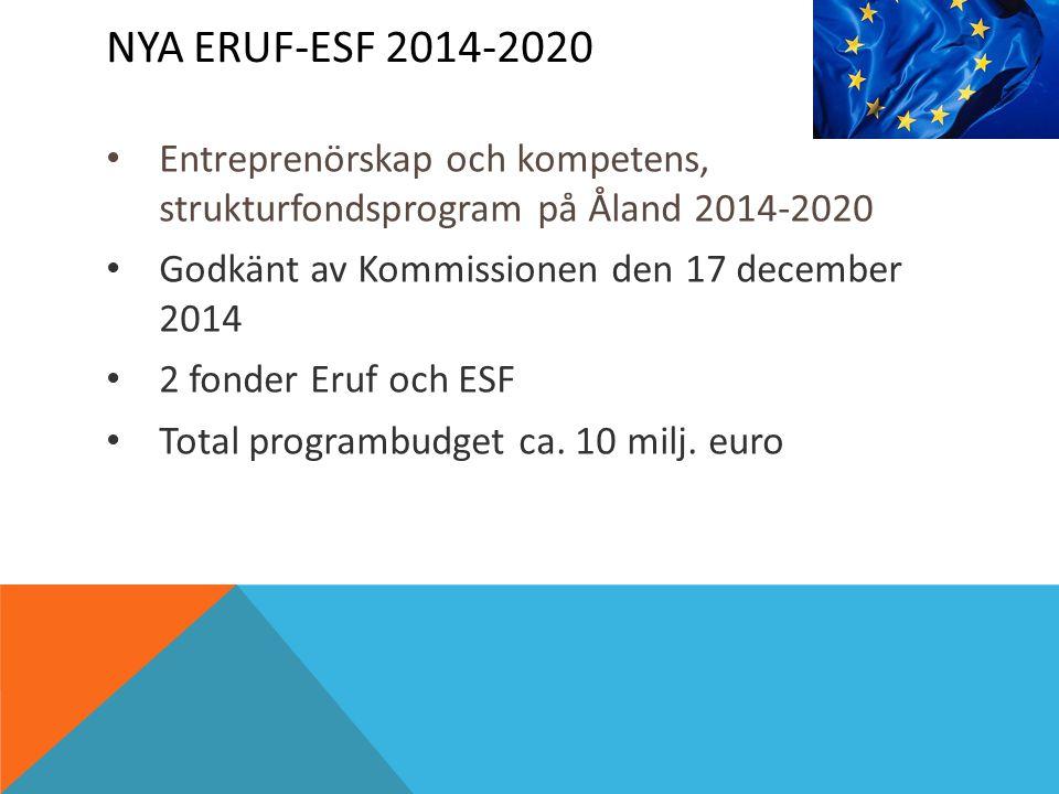 NYA ERUF-ESF 2014-2020 Entreprenörskap och kompetens, strukturfondsprogram på Åland 2014-2020 Godkänt av Kommissionen den 17 december 2014 2 fonder Eruf och ESF Total programbudget ca.
