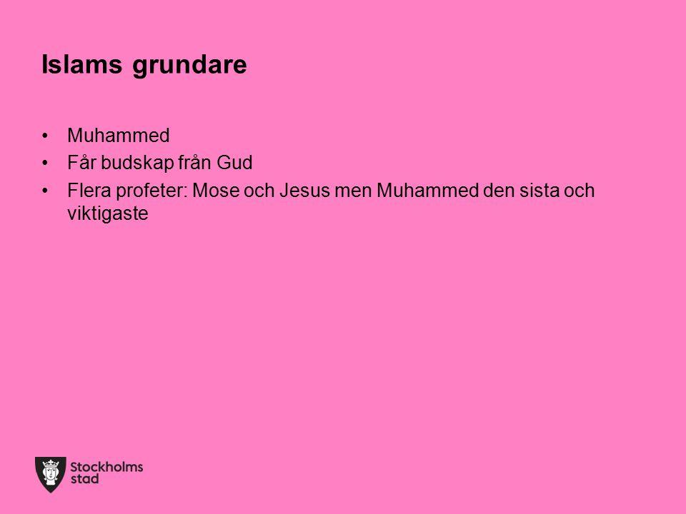 Islams grundare Muhammed Får budskap från Gud Flera profeter: Mose och Jesus men Muhammed den sista och viktigaste