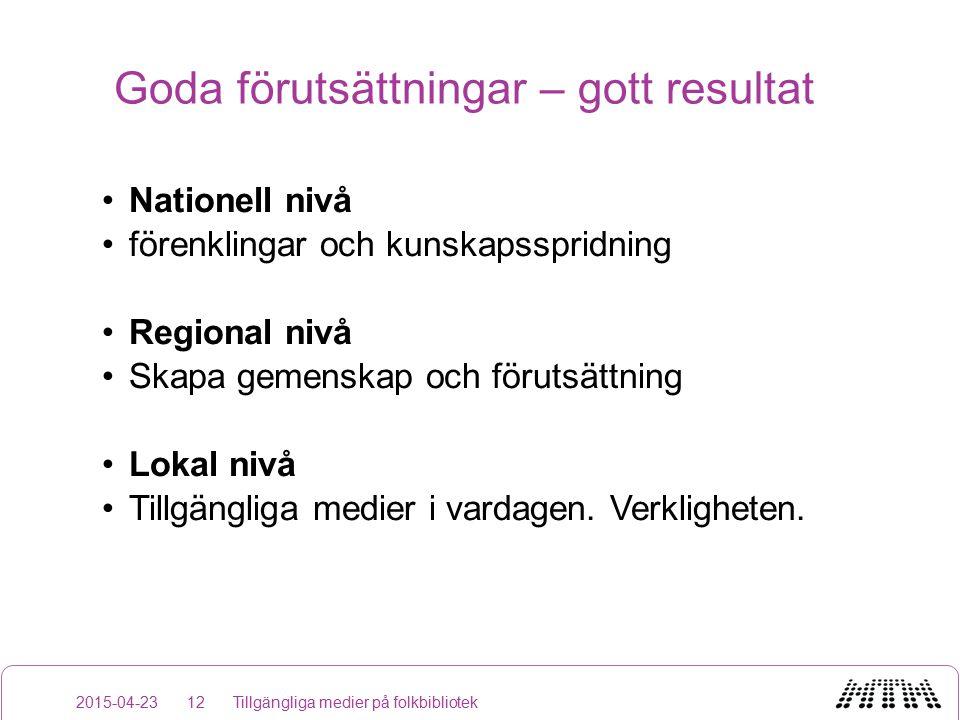 Goda förutsättningar – gott resultat Nationell nivå förenklingar och kunskapsspridning Regional nivå Skapa gemenskap och förutsättning Lokal nivå Tillgängliga medier i vardagen.