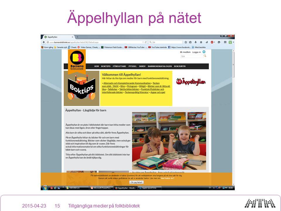 Äppelhyllan på nätet 2015-04-23Tillgängliga medier på folkbibliotek15