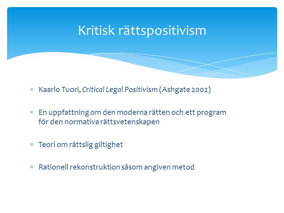  Kaarlo Tuori, Critical Legal Positivism (Ashgate 2002)  En uppfattning om den moderna rätten och ett program för den normativa rättsvetenskapen  Teori om rättslig giltighet  Rationell rekonstruktion såsom angiven metod Kritisk rättspositivism