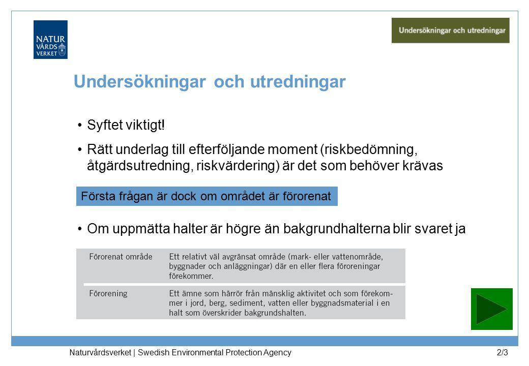Naturvårdsverket | Swedish Environmental Protection Agency 2/3 Undersökningar och utredningar Syftet viktigt.