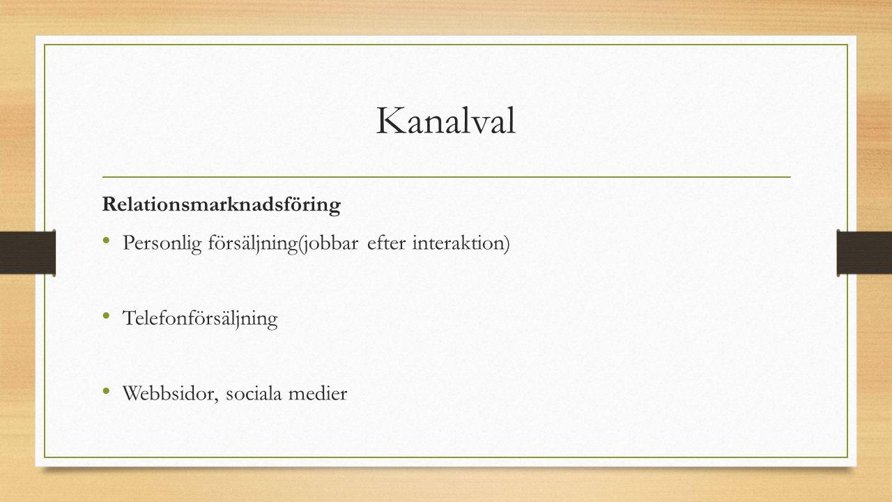 Kanalval Relationsmarknadsföring Personlig försäljning(jobbar efter interaktion) Telefonförsäljning Webbsidor, sociala medier