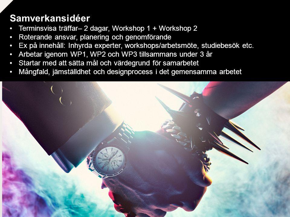 Samverkansidéer Terminsvisa träffar– 2 dagar, Workshop 1 + Workshop 2 Roterande ansvar, planering och genomförande Ex på innehåll: Inhyrda experter, workshops/arbetsmöte, studiebesök etc.