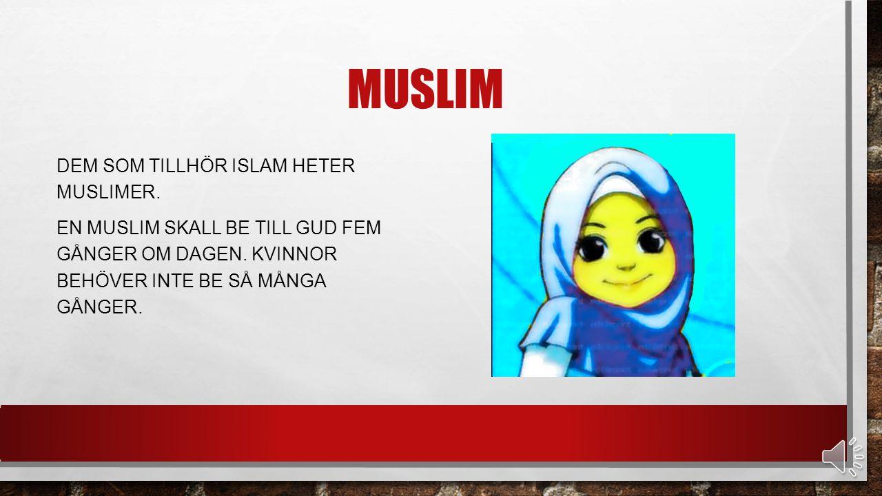 MUSLIM DEM SOM TILLHÖR ISLAM HETER MUSLIMER.EN MUSLIM SKALL BE TILL GUD FEM GÅNGER OM DAGEN.
