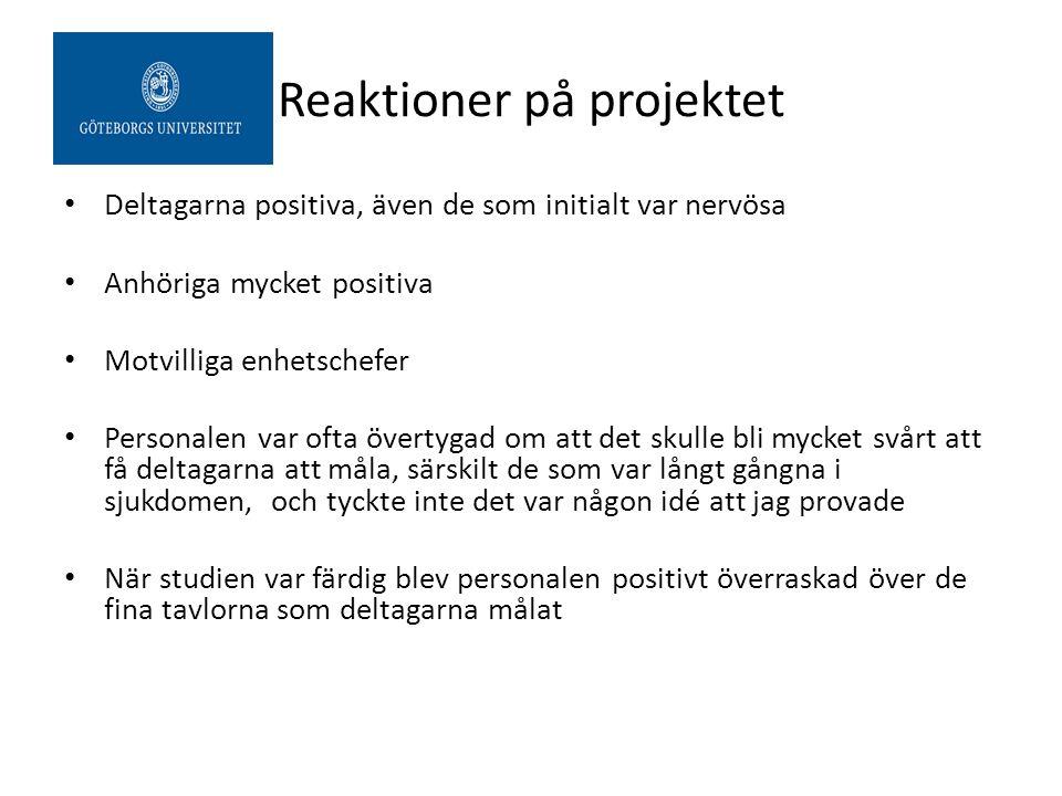 Reaktioner på projektet Deltagarna positiva, även de som initialt var nervösa Anhöriga mycket positiva Motvilliga enhetschefer Personalen var ofta öve
