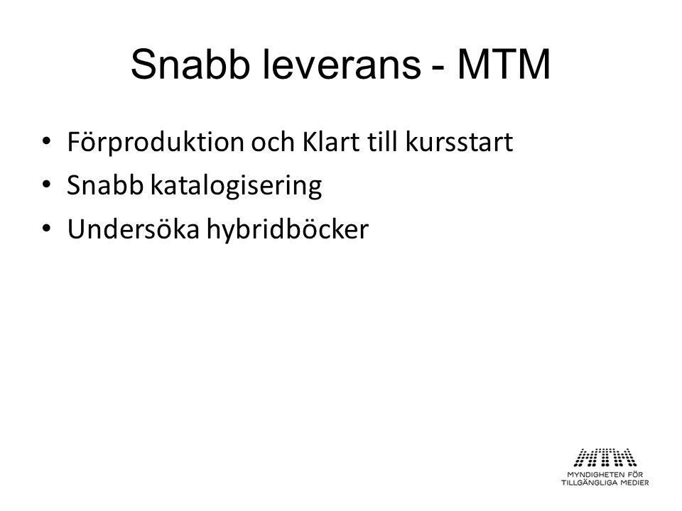 Snabb leverans - MTM Förproduktion och Klart till kursstart Snabb katalogisering Undersöka hybridböcker