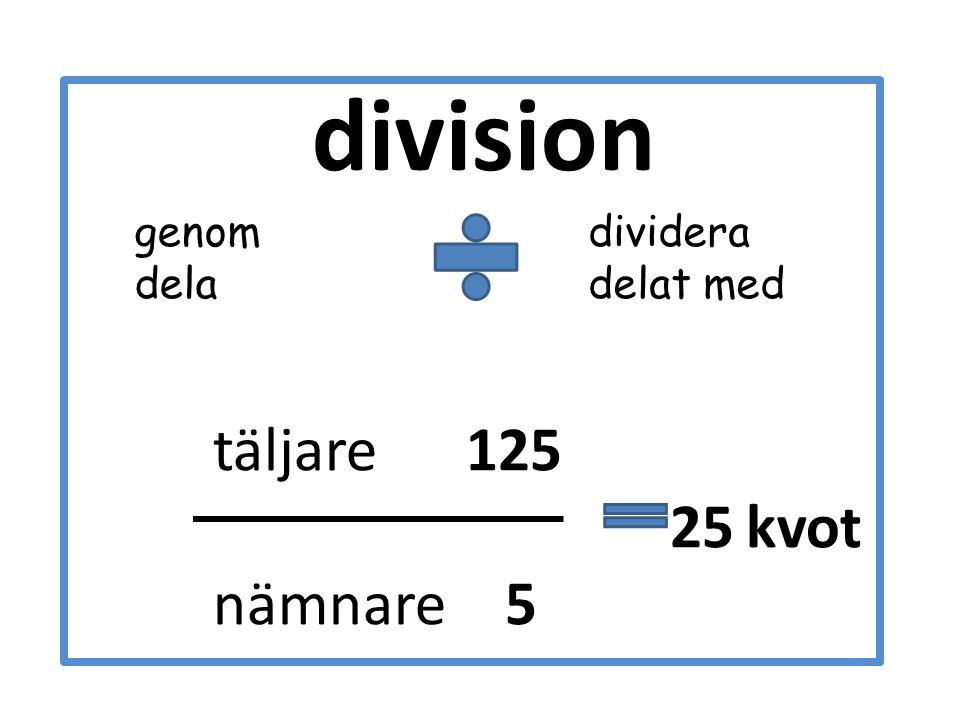 division täljare 125 25 kvot nämnare 5 dividera delat med genom dela