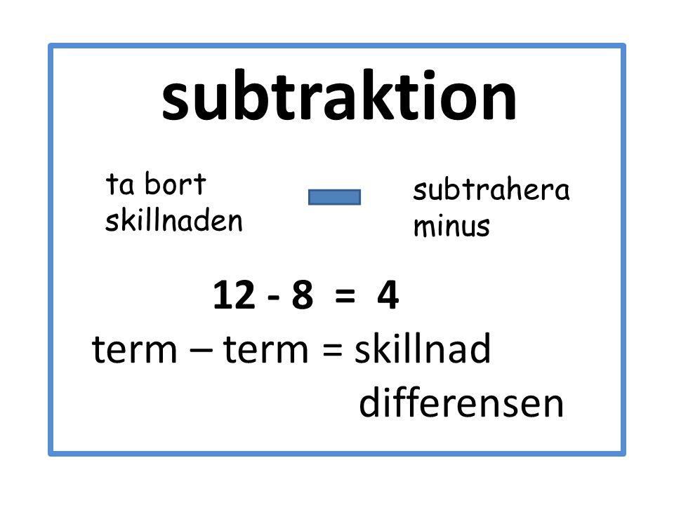 subtraktion 12 - 8 = 4 term – term = skillnad differensen subtrahera minus ta bort skillnaden
