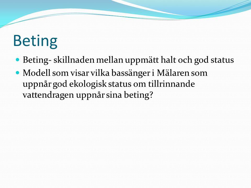 Beting Beting- skillnaden mellan uppmätt halt och god status Modell som visar vilka bassänger i Mälaren som uppnår god ekologisk status om tillrinnande vattendragen uppnår sina beting