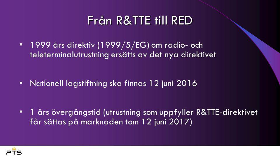 Nya produkter omfattas Utrustning som använder frekvenser under 9 kHz Radio och tv-apparater Förtydligande för radar Teknikutvecklingen gör allt fler produkter innehåller radiomoduler och omfattas av direktivet om radioutrustning.