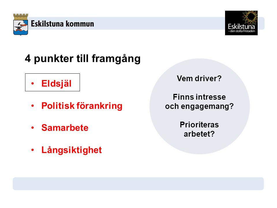 4 punkter till framgång Eldsjäl Politisk förankring Samarbete Långsiktighet Vem driver.