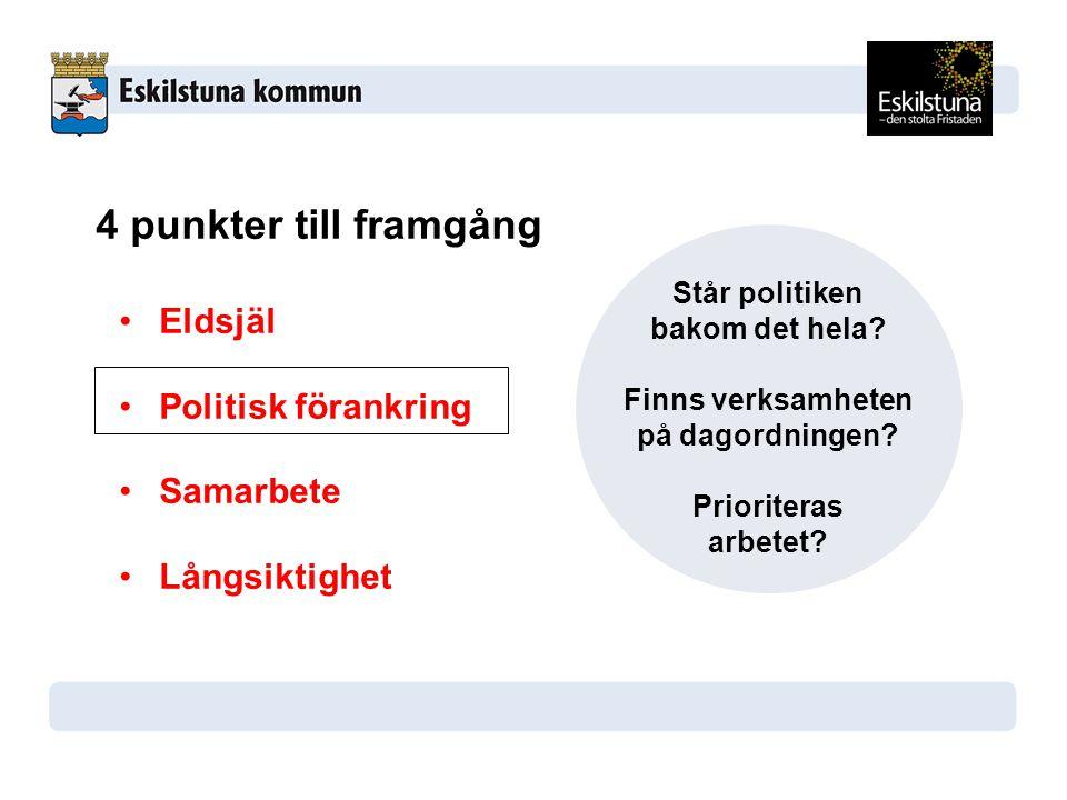 4 punkter till framgång Eldsjäl Politisk förankring Samarbete Långsiktighet Står politiken bakom det hela.