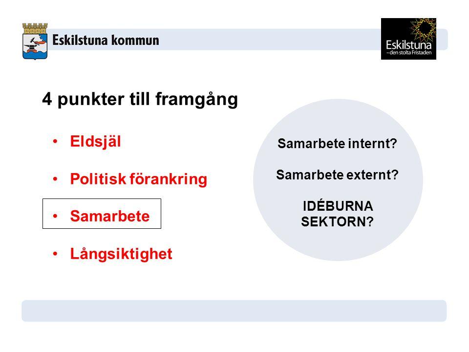 4 punkter till framgång Eldsjäl Politisk förankring Samarbete Långsiktighet Samarbete internt.