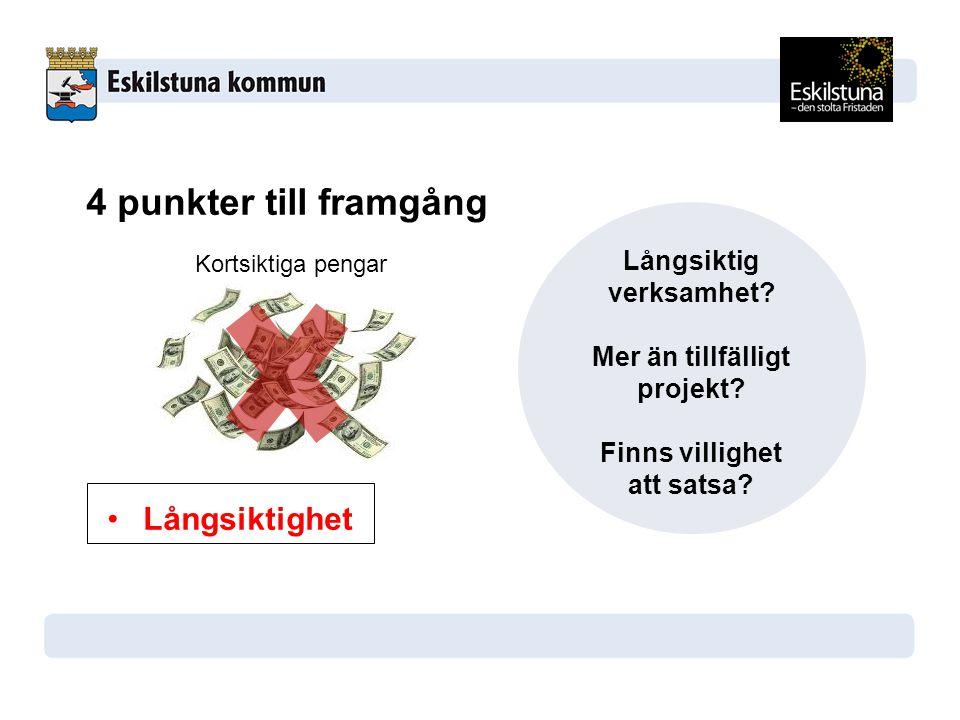 4 punkter till framgång Eldsjäl Politisk förankring Samarbete Långsiktighet Långsiktig verksamhet.