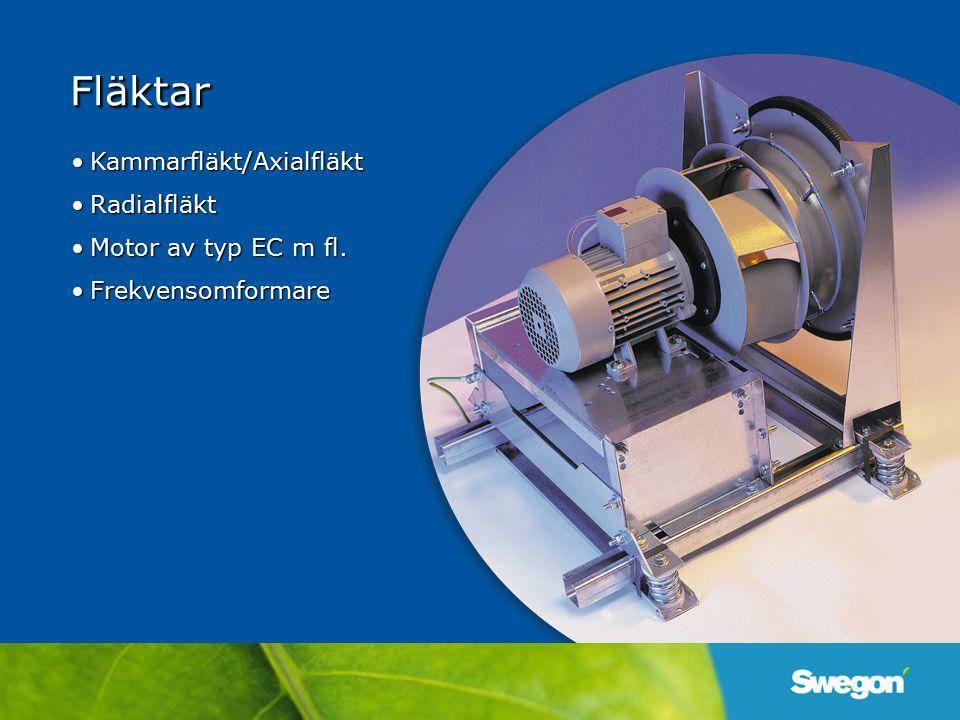 Kammarfläkt/AxialfläktKammarfläkt/Axialfläkt RadialfläktRadialfläkt Motor av typ EC m fl.Motor av typ EC m fl. FrekvensomformareFrekvensomformare Fläk