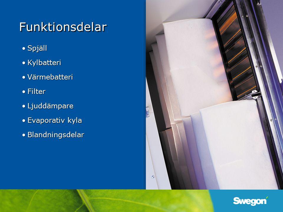 FunktionsdelarFunktionsdelar SpjällSpjäll KylbatteriKylbatteri VärmebatteriVärmebatteri FilterFilter LjuddämpareLjuddämpare Evaporativ kylaEvaporativ kyla BlandningsdelarBlandningsdelar