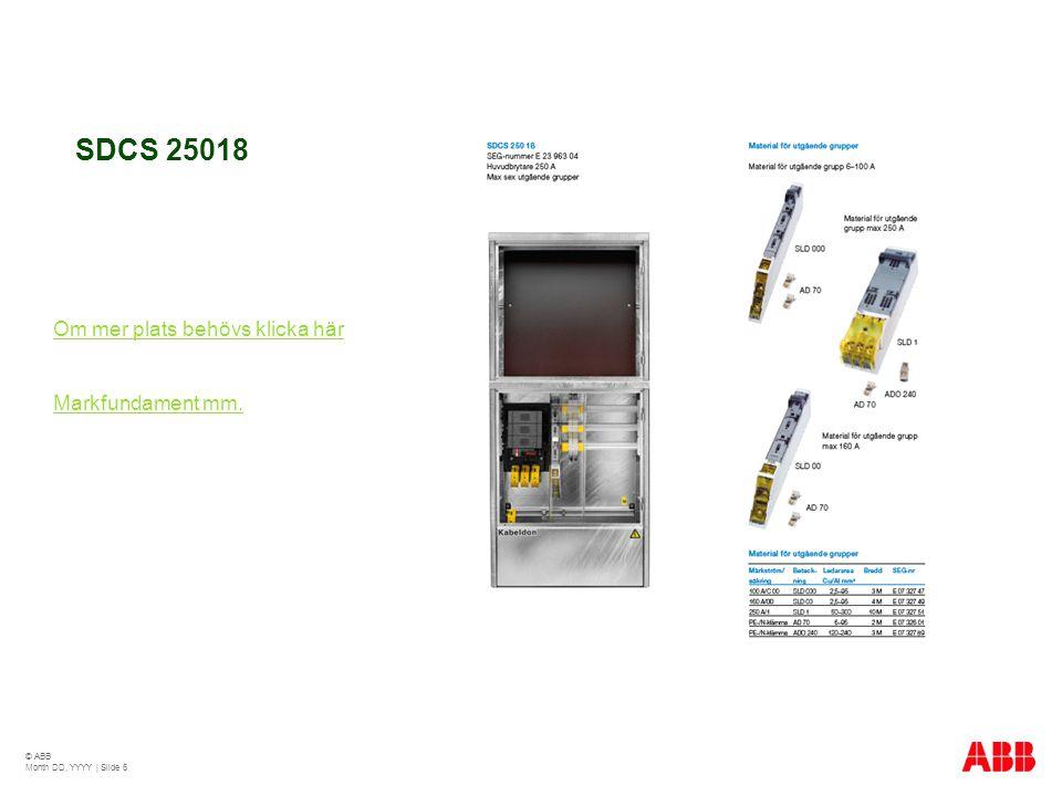 SDCS 25018 Om mer plats behövs klicka här Markfundament mm. © ABB Month DD, YYYY | Slide 6