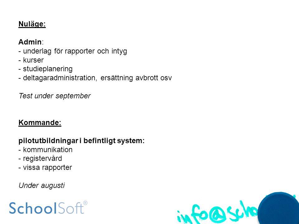 Integrationer: -import av uppgifter till SchoolSoft (Skola24) -export PingPong, It´s learning Test under oktober Ansökningsmodul: - inloggningsmöjlighet - kommunikationsflöde skolan-ansökande - hantering av bifogade filer Test under november Formella rapporter -i prioritetsordning