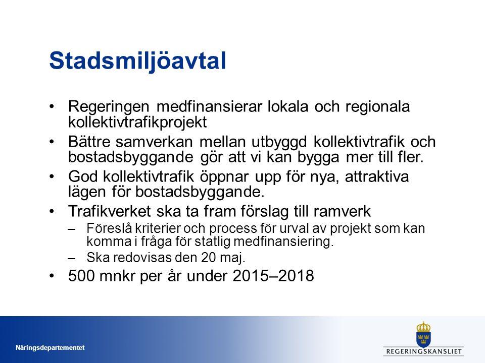 Näringsdepartementet Stadsmiljöavtal Regeringen medfinansierar lokala och regionala kollektivtrafikprojekt Bättre samverkan mellan utbyggd kollektivtrafik och bostadsbyggande gör att vi kan bygga mer till fler.