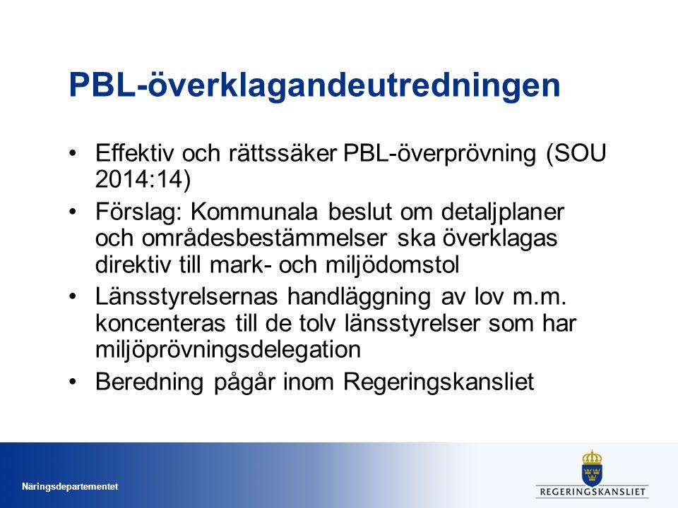 Näringsdepartementet PBL-överklagandeutredningen Effektiv och rättssäker PBL-överprövning (SOU 2014:14) Förslag: Kommunala beslut om detaljplaner och områdesbestämmelser ska överklagas direktiv till mark- och miljödomstol Länsstyrelsernas handläggning av lov m.m.