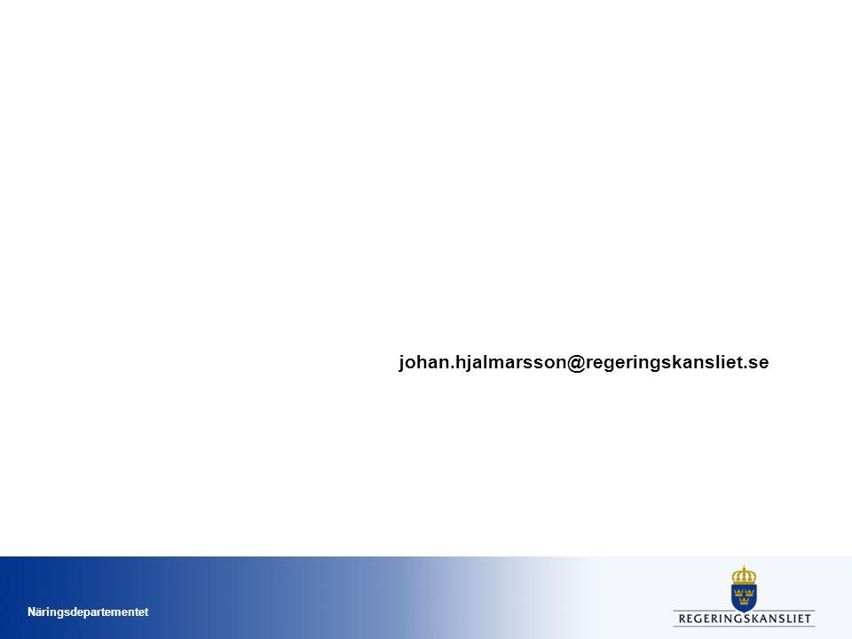 Näringsdepartementet johan.hjalmarsson@regeringskansliet.se