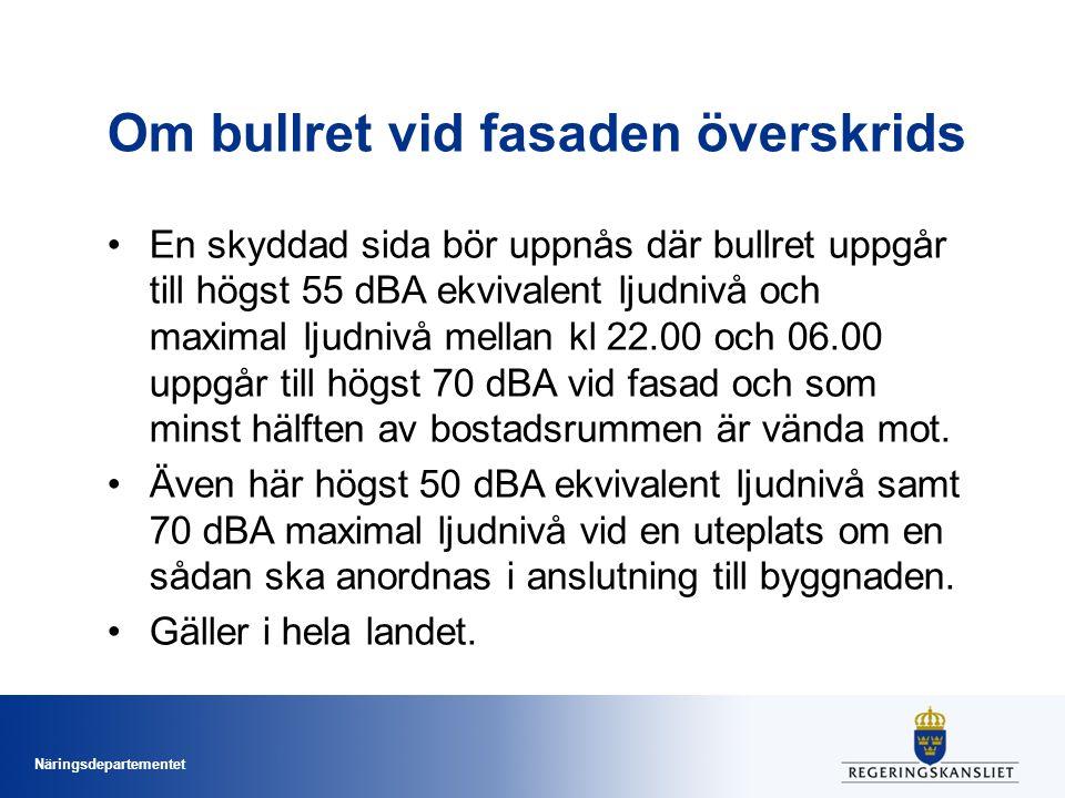 Näringsdepartementet Om bullret vid fasaden överskrids En skyddad sida bör uppnås där bullret uppgår till högst 55 dBA ekvivalent ljudnivå och maximal