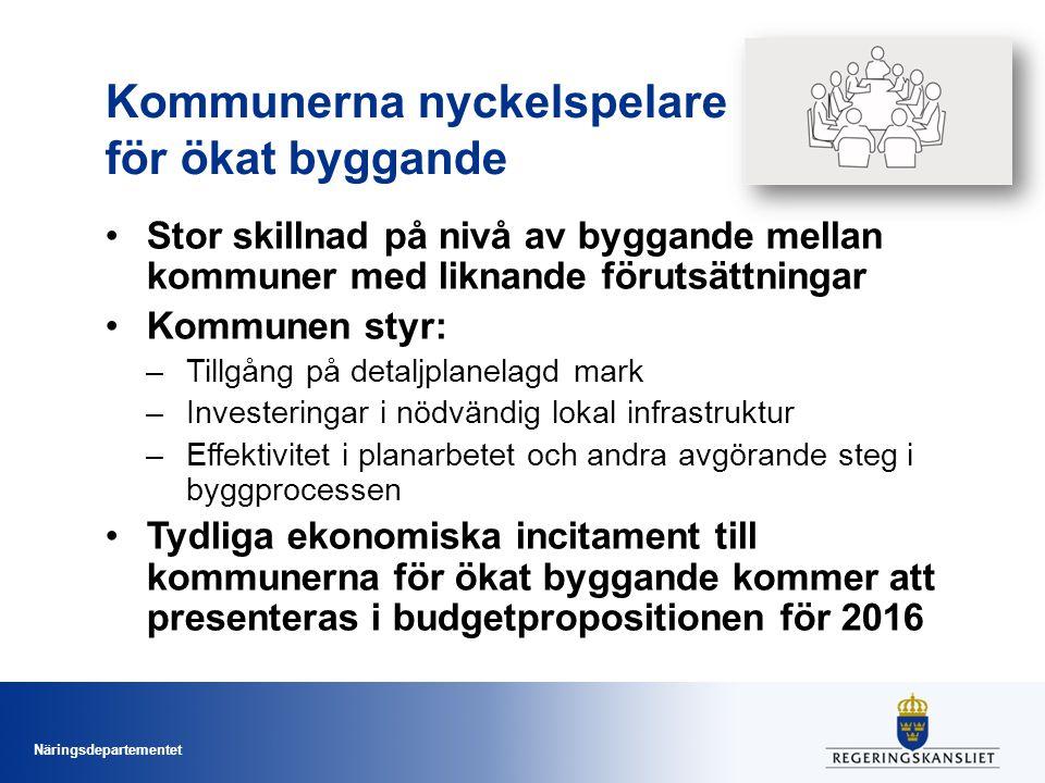 Näringsdepartementet Kommunerna nyckelspelare för ökat byggande Stor skillnad på nivå av byggande mellan kommuner med liknande förutsättningar Kommune