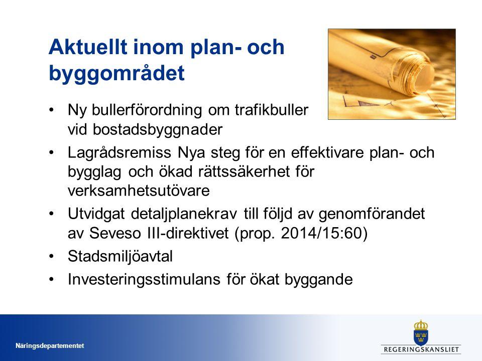 Näringsdepartementet Aktuellt inom plan- och byggområdet Ny bullerförordning om trafikbuller vid bostadsbyggnader Lagrådsremiss Nya steg för en effektivare plan- och bygglag och ökad rättssäkerhet för verksamhetsutövare Utvidgat detaljplanekrav till följd av genomförandet av Seveso III-direktivet (prop.
