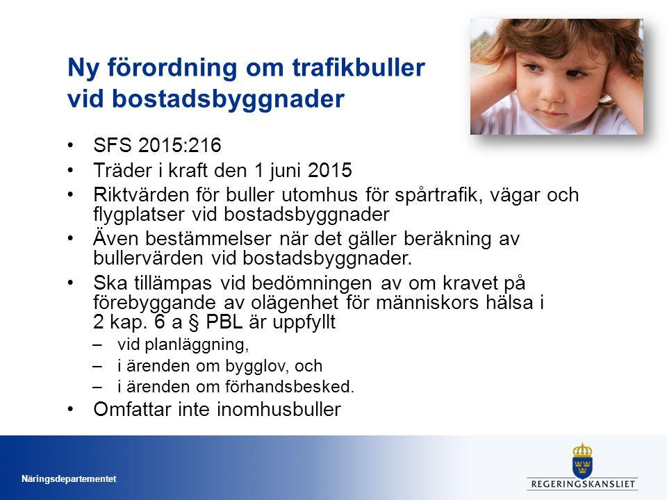 Näringsdepartementet Ny förordning om trafikbuller vid bostadsbyggnader SFS 2015:216 Träder i kraft den 1 juni 2015 Riktvärden för buller utomhus för