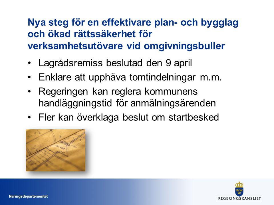 Näringsdepartementet Nya steg för en effektivare plan- och bygglag och ökad rättssäkerhet för verksamhetsutövare vid omgivningsbuller Lagrådsremiss beslutad den 9 april Enklare att upphäva tomtindelningar m.m.