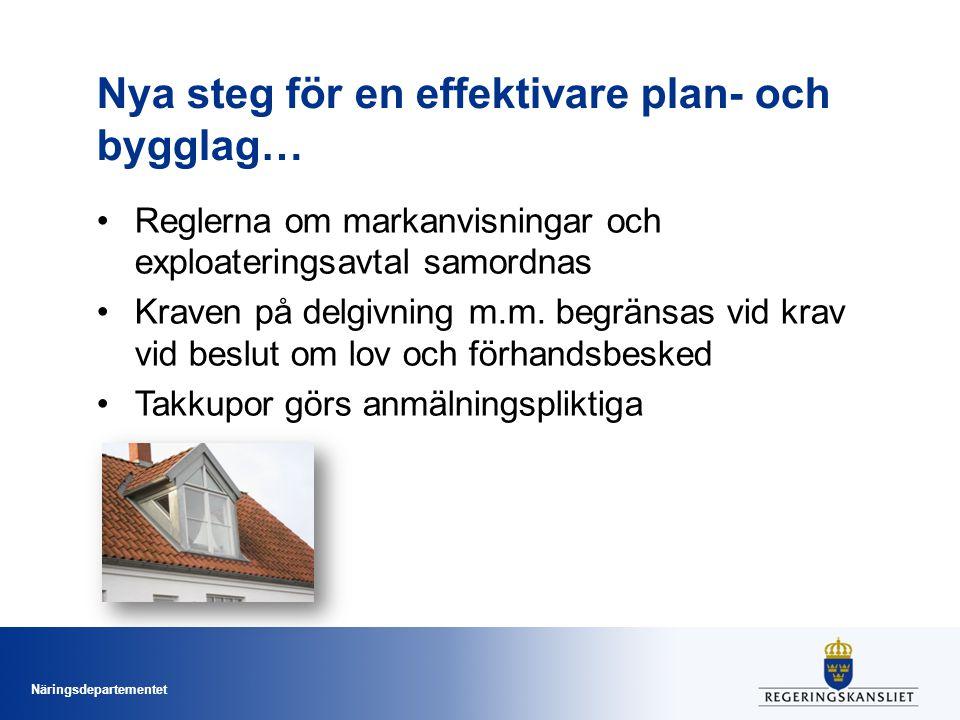 Näringsdepartementet Nya steg för en effektivare plan- och bygglag… Tillståndsmyndigheten ska inte få besluta om strängare villkor när det gäller omgivningsbuller vid en bostadsbyggnad –än vad som har angetts i en detaljplan eller i ett bygglov (om sådana finns) –beslutet enbart grundas på förhållanden som är hänförliga till bostadsbyggnaden Strängare krav får beslutas om synnerliga skäl Aldrig villkor vid komplementbostadshus Föreslås träda i kraft den 1 januari 2016